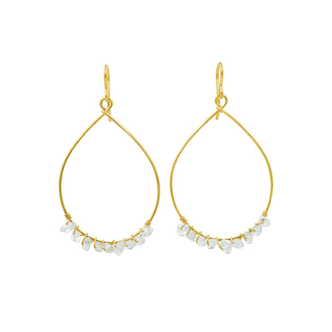 Herkimer Diamond Gold-Filled Hoop Earrings - Sati Gems Hawaii Healing Crystal Gemstone Jewelry