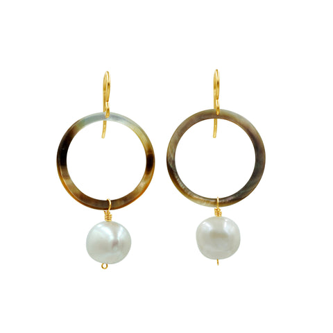 Mother of Pearl Gold-filled Earrings - Sati Gems Hawaii