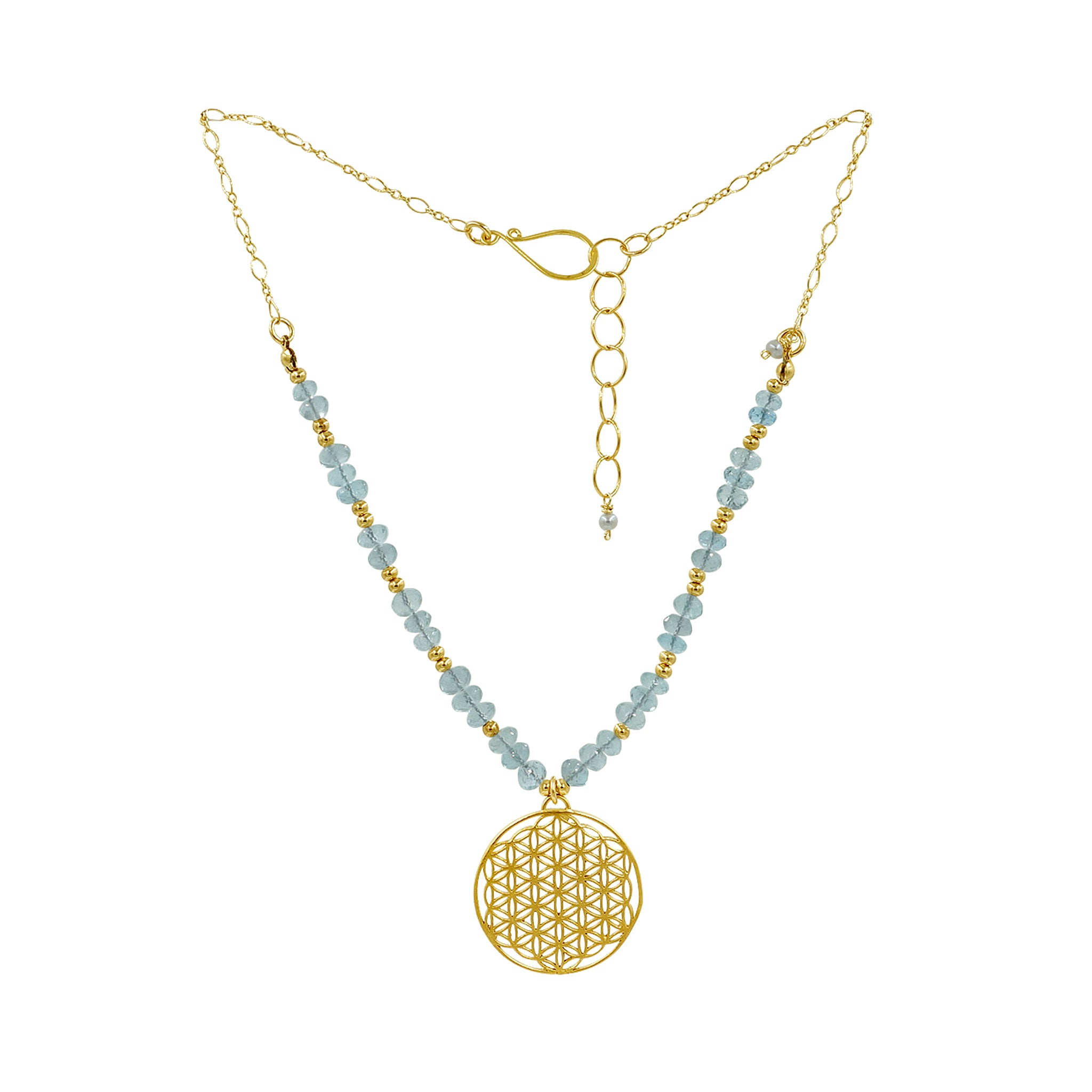 Healing Aquamarine Gemstone Gold Flower of Life Necklace - Sati Gems Hawaii