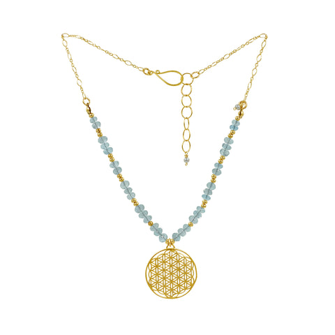 Healing Aquamarine Gemstone Gold Flower of Life Necklace - Sati Gems Hawaii Healing Crystal Gemstone Jewelry