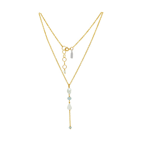 Aquamarine Opal Gold Necklace - Sati Gems Hawaii Healing Crystal Gemstone Jewelry
