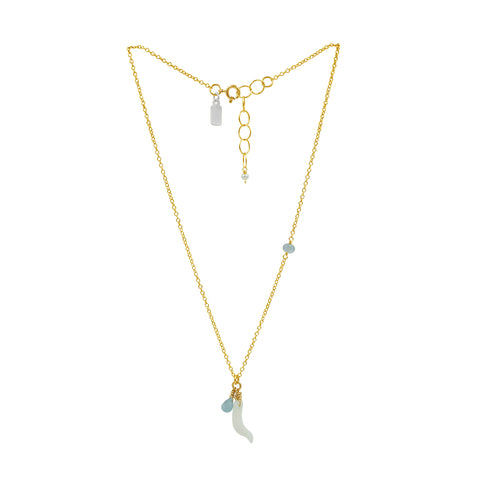 Blue Aquamarine & White Coral Gold Necklace - Sati Gems Hawaii Healing Crystal Gemstone Jewelry