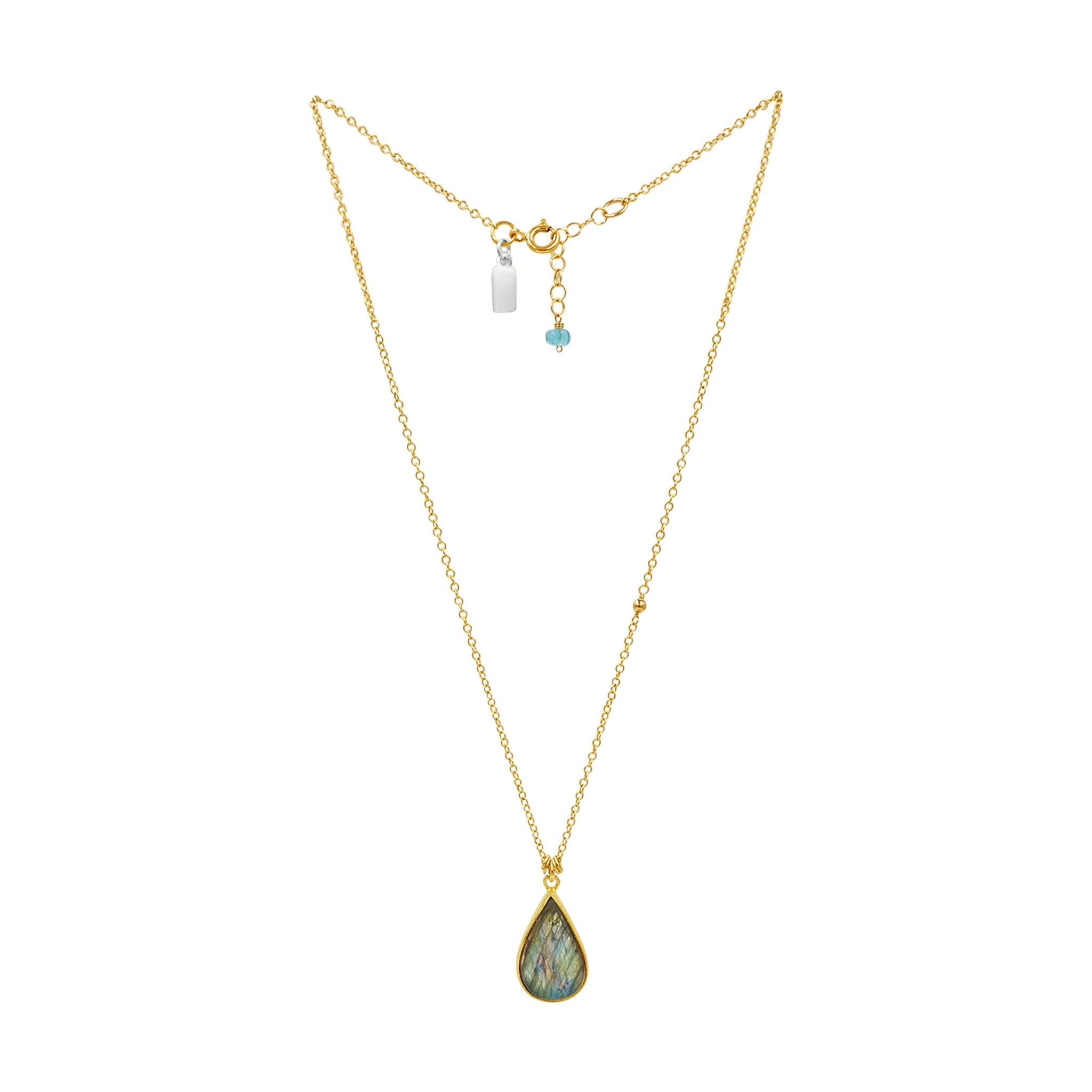 Labradorite Magic Gold Necklace - Sati Gems Hawaii Healing Crystal Gemstone Jewelry