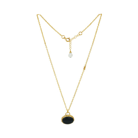 Black Onyx Gold Necklace - Sati Gems Hawaii Healing Crystal Gemstone Jewelry
