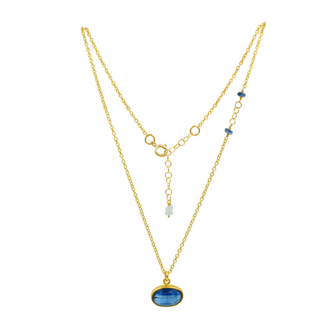 Blue Kyanite Clarity Gold Necklace - Sati Gems Hawaii Healing Crystal Gemstone Jewelry