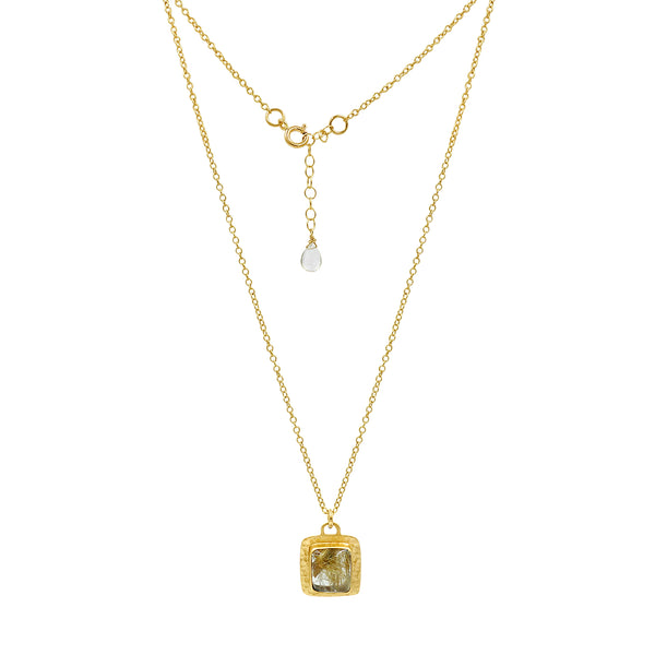 Golden Rutilated Quartz Gold Square Necklace - Sati Gems Hawaii