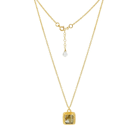 Golden Rutilated Quartz Gold Square Necklace - Sati Gems Hawaii Healing Crystal Gemstone Jewelry
