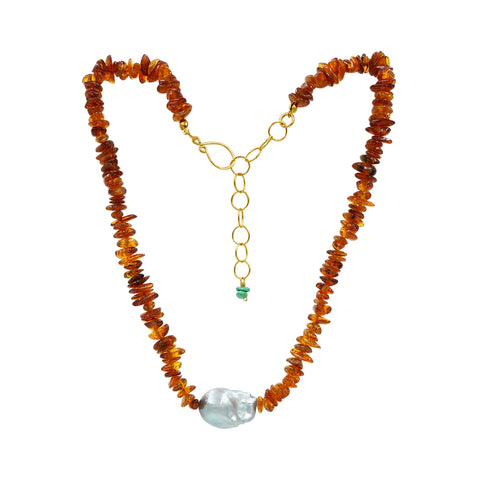 Amber Pearl Necklace - Sati Gems Hawaii Healing Crystal Gemstone Jewelry