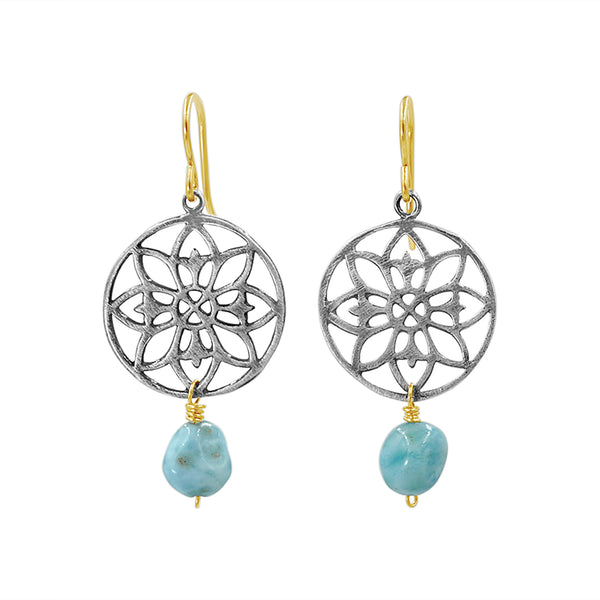 Blue Larimar Silver Mandala Earrings - Sati Gems Hawaii Healing Crystal Gemstone Jewelry
