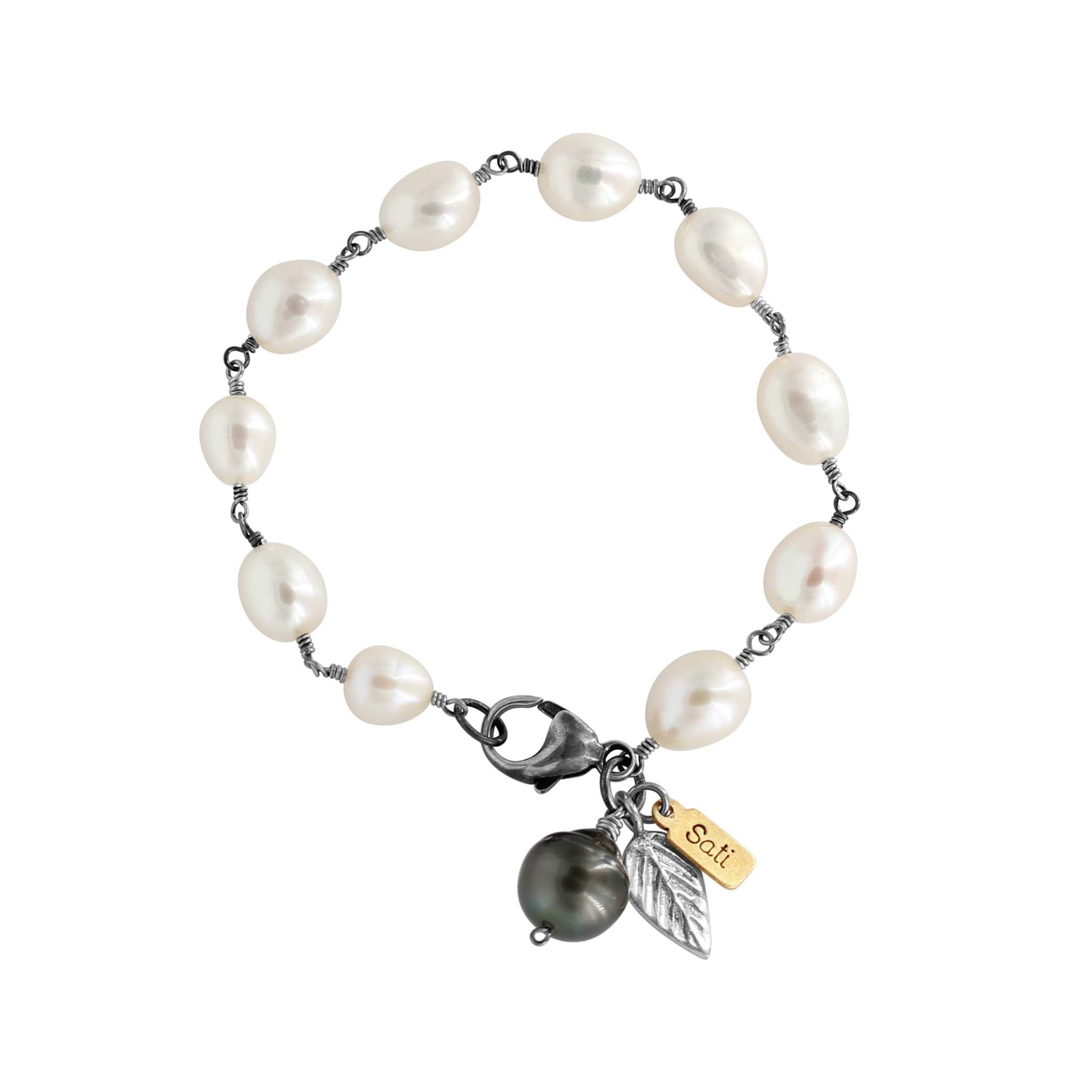 Graceful Pearl Silver Bracelet - Sati Gems Hawaii Healing Crystal Gemstone Jewelry