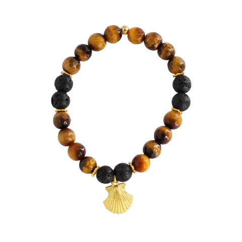 Tigers-eye gold shell bracelet - Sati Gems Hawaii Healing Crystal Gemstone Jewelry