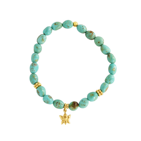 Natural Turquoise Lotus Bracelet - Sati Gems Hawaii