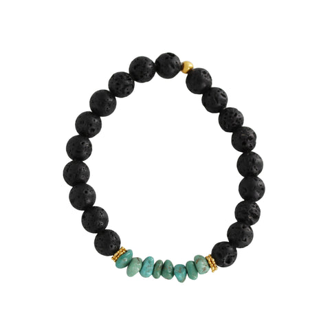 Lava with Turquoise Bracelet - Sati Gems Hawaii