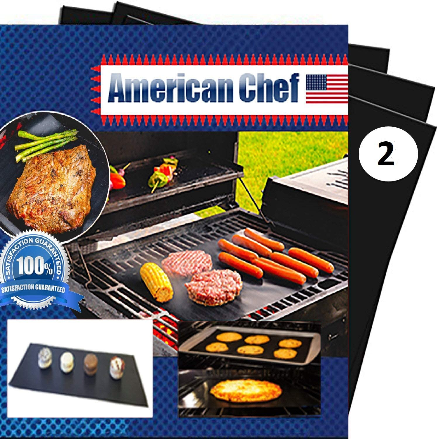 Grill Mats Heavy Duty (Set of 2) - Easy Kabob maker