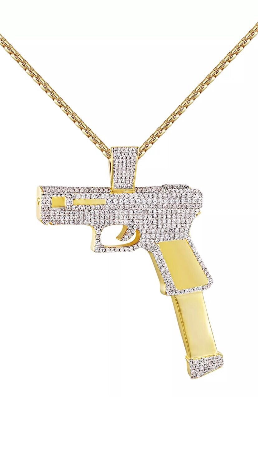 Gun pendant+Necklace
