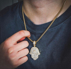 Hamsa pendant and chain (Yellow)