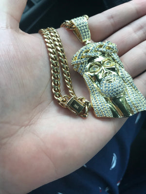 Jesus piece with cuban link 26-30""