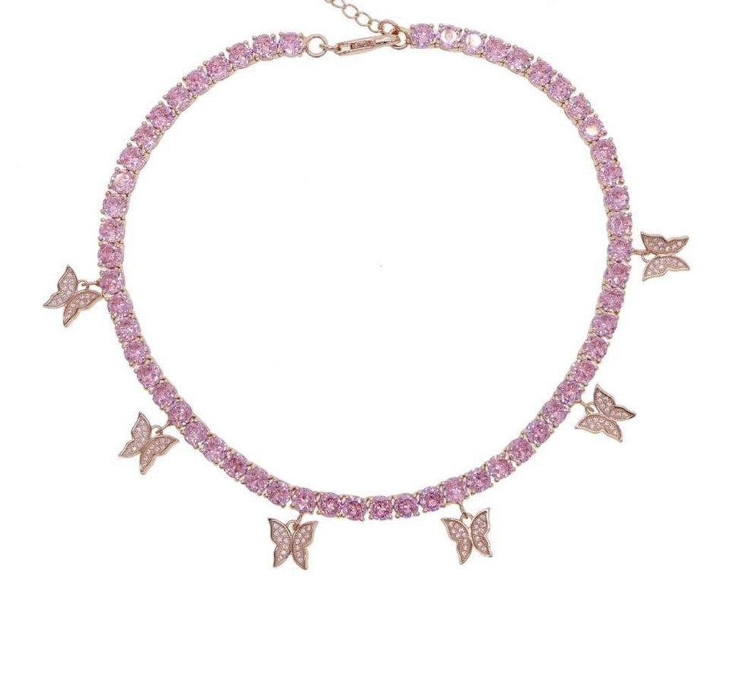 Butterfly tennis Necklace - Rose