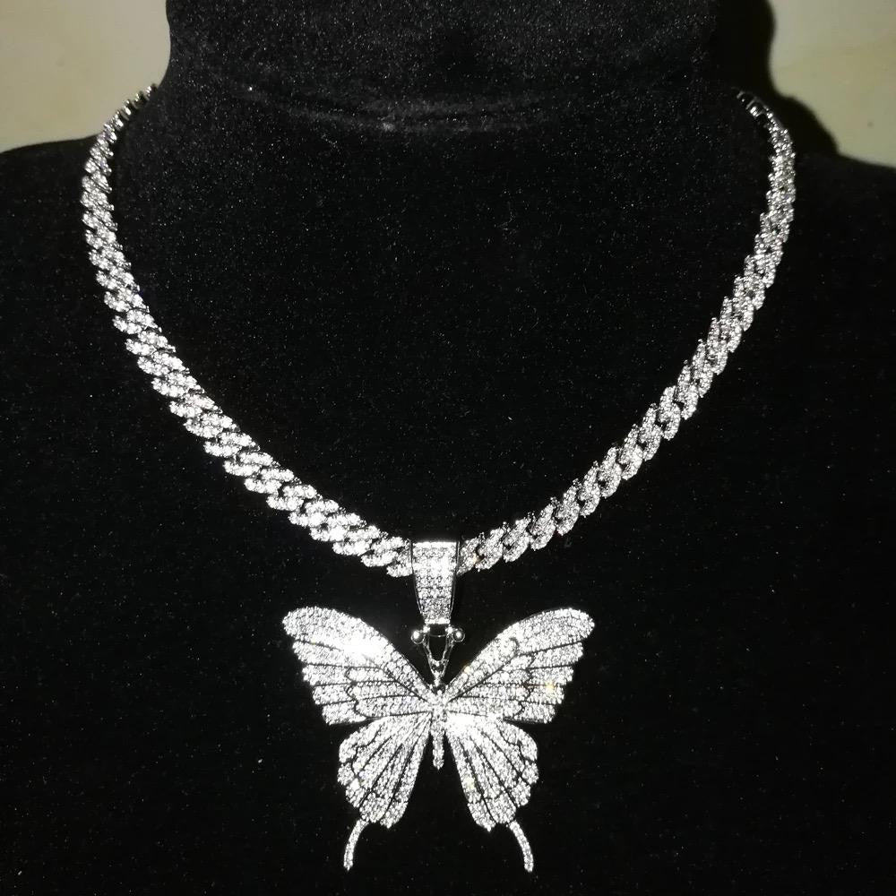 Butterfly Pendant and chain - silver
