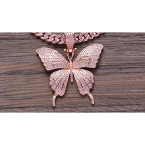 Butterfly pendant and Necklace -Rose