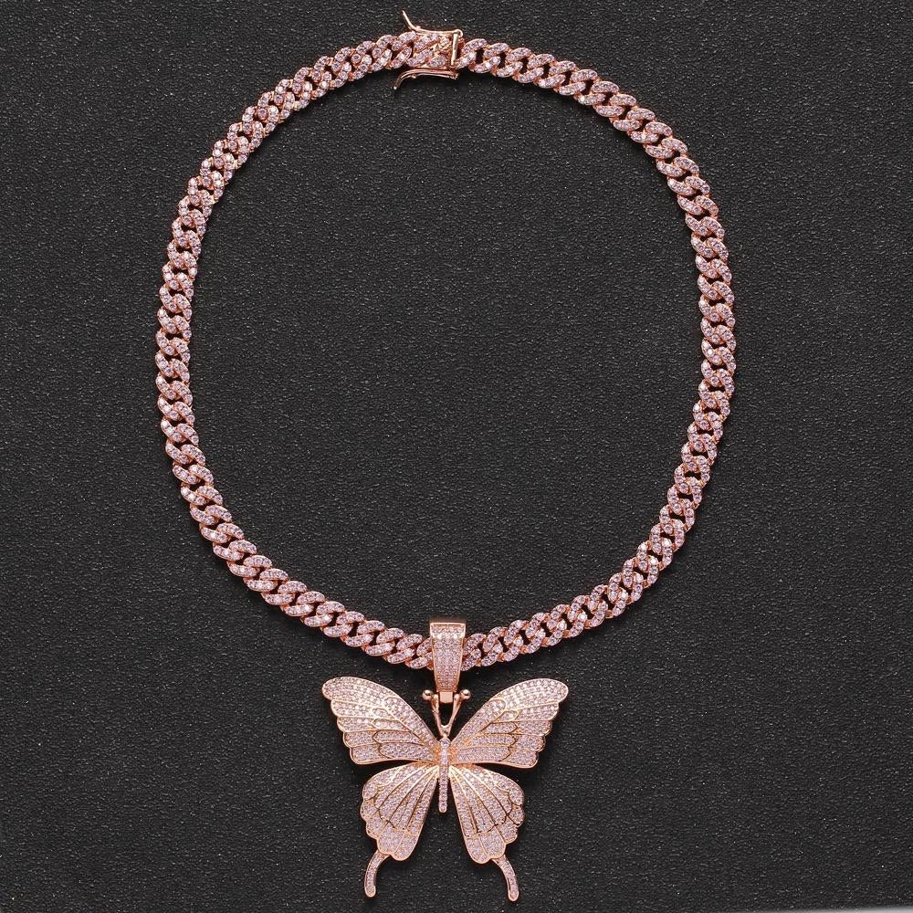 Butterfly pendant and Necklace -Rose Gold