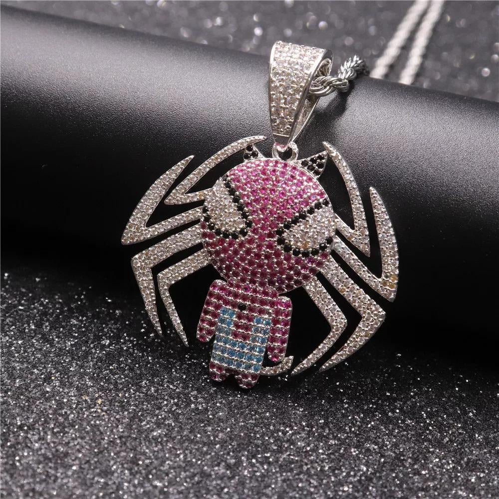 Spiderman Pendant with Necklace  (White Gold)