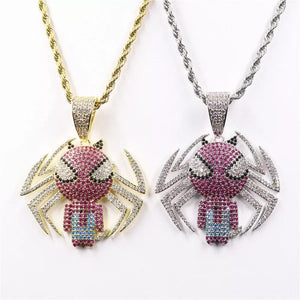 Spiderman Pendant with Necklace (Yellow Gold)
