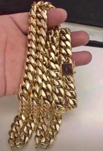 14k stainless chain and bracelet set