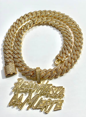 Fully Iced out Cuban and Pendant