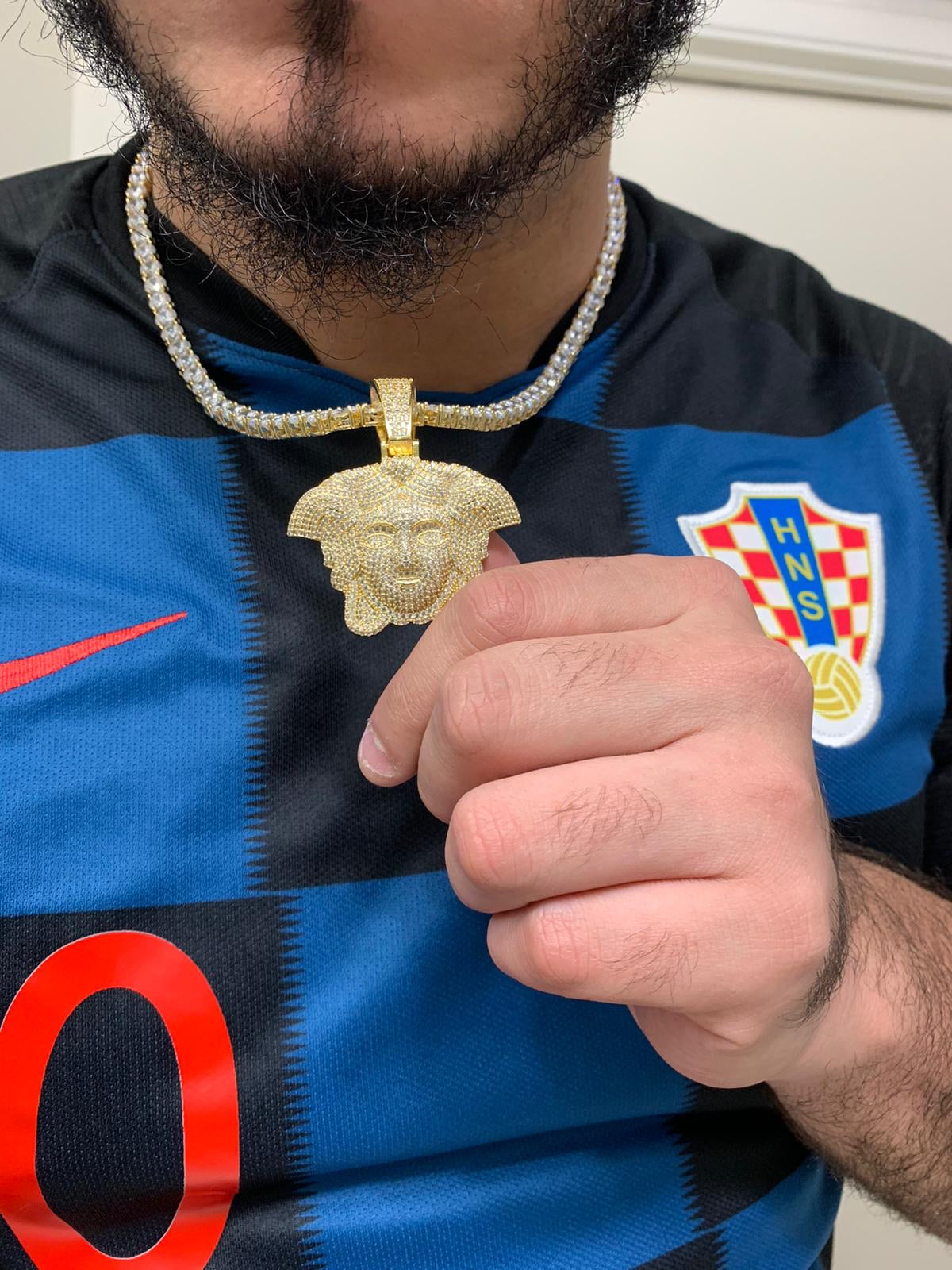 Versace pendant with tennis chain