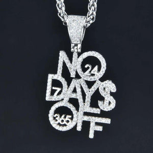 No Days Off pendant with Necklace