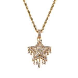 Iced Star pendant with Necklace