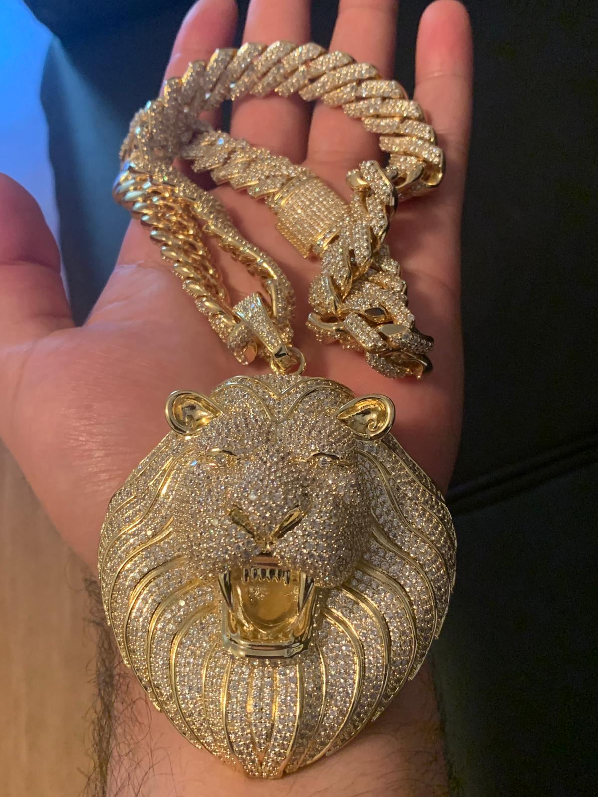 Cuban Fully Iced with Lion pendant