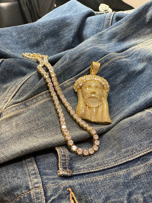 Jesus piece with tennis chain