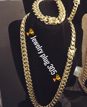 Cuban link set 19mm Chain and bracelet