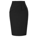 BP Women's Retro Vintage Back Split Hips-Wrapped Bodycon Pencil Peplum Skirt