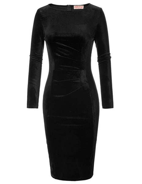 Women's 1950s Retro Vintage Velvet Long Sleeve Pleated Bodycon Club Pencil Dress