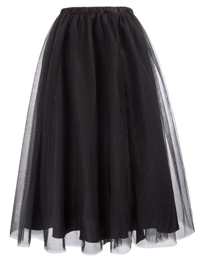 Women's Gothic Elastic 2-Layer Knee Length Tulle A-Line Party Prom Skirt