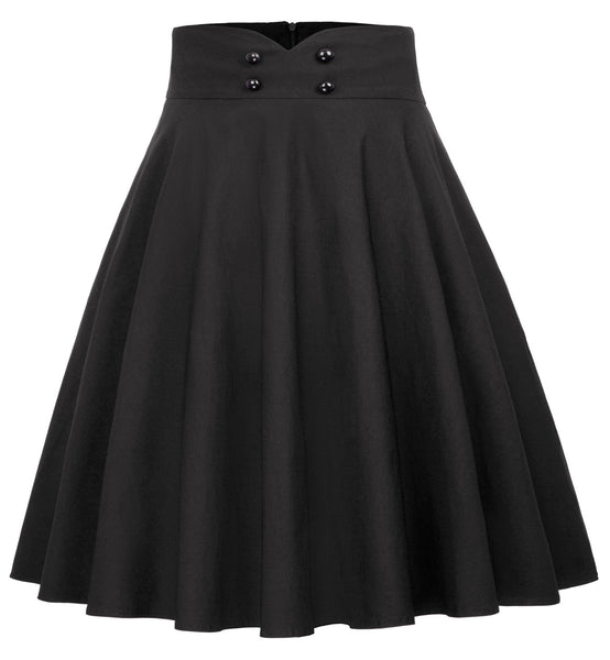 Women's High Waist A-Line Pockets Skirt Skater Pleated Midi Skirt
