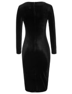 Mulheres 1950s Retro Vintage Velvet manga comprida plissada Bodycon Club Pencil Dress