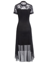 Women Vintage Black Steampunk Gothic Victorian Lace Dress