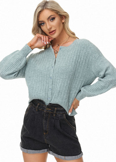 Womens Vintage Long Sleeve Crew Neck Button Evening Party Contrast Cardigan Knitwear Tops