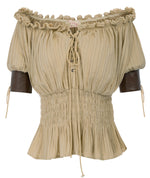 Women's Steampunk Victorian Half Sleeve Boho Off Shoulder Peasant Tops