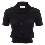 BP Women Short Sleeve Doll Collar Hollowed-out Button Placket Knitwear Cardigan