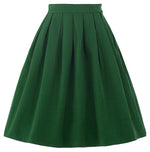 BP Occident Women's Vintage Retro Solid Color Nylon-Cotton Skirt
