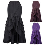BP Retro Vintage Elastic Waist Bow-Knot Decorated Ruffled High-Low Hem Skirt