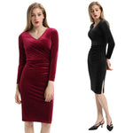 Belle Poque Women's Long Sleeve Crossover Bust Sides Split Hips-Wrapped Bodycon Dress