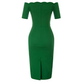 BP manga curta fora do ombro alta stretchy Hips-Wrapped Bodycon lápis vestido