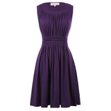 Retro Vintage Solid Color Sleeveless Crew Neck Cotton A-Line Dress
