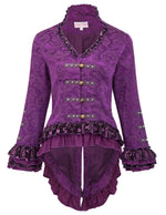Women's Retro Vintage Corset Style Lace Embellished V-Neck Jacquard Coat